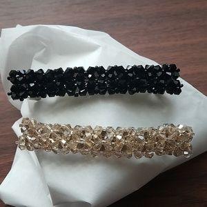 Set Crystal barrettes